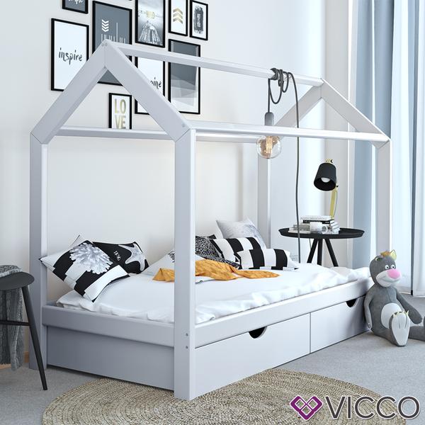 VICCO Kinderbett Hausbett weiß 90x200 cm Schubladen Bett Holz Kinderhaus