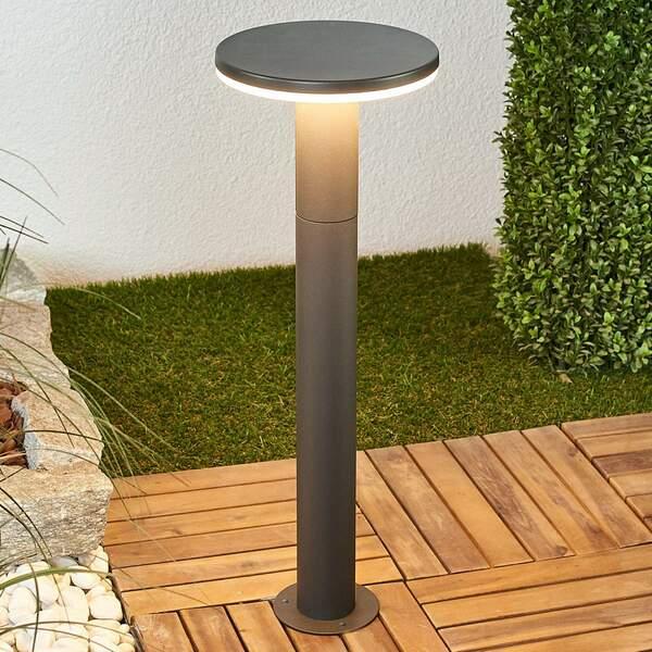 LED Pollerleuchte Olesia Rund 100 cm Dunkelgrau Aluminium Lampenwelt Außenlampe