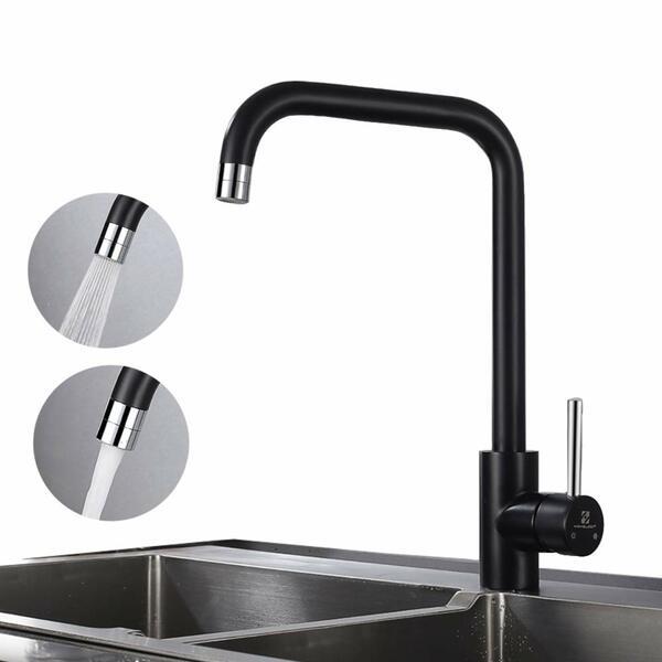 Homelody Spültischarmatur Küche schwarz schwenkbar | Mischbatterie Armatur  Spüle |2 Strahlarten | Wasserhahn Spültisch | Einhand Küchenarmatur | ...