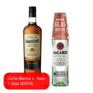 Bacardi Carta Blanca, Oakheart oder Razz