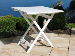 Grasekamp Balkontisch Weiss 70x70 cm Klapptisch Beistelltisch Gartentisch