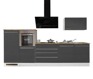 respekta-Premium-Küchenblock, Doppelblock, ca. 320 cm, grau