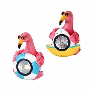 Solar-Flamingo in coolem Design, ca. 12,5x12x15,5cm