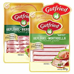 Gutfried Geflügel Frischwurst-Aufschnitt versch. Sorten, jede 80-g-SB-Packung