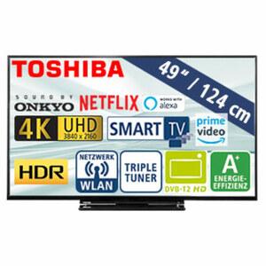 "49""-Ultra-HD-LED-TV 49V5863DA • HbbTV • 3 HDMI-/2 USB-Anschlüsse, CI+ • 2 x 10 Watt RMS • Stand-by: 0,5 Watt, Betrieb: 69 Watt • Maße: H 64,2 x B 110,5 x T 7,3 cm • Energie-Effizienz"