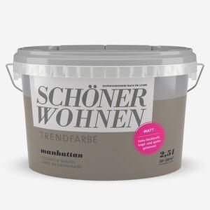 SchoenerWohnen -              Schöner Wohnen Wand- und Deckenfarbe Trendfarbe 'Manhattan' betongrau matt 2,5 l