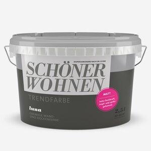 SchoenerWohnen -              Schöner Wohnen Wand- und Deckenfarbe Trendfarbe 'Luna' dunkelgrau matt 2,5 l
