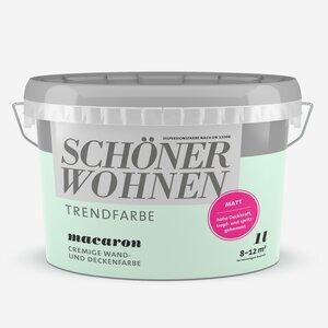 SchoenerWohnen -              Schöner Wohnen Wand- und Deckenfarbe Trendfarbe 'Macaron' mintgrün matt 1 l