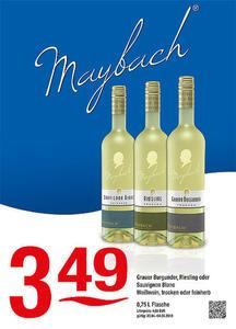 Maybach Grauer Burgunder, Riesling oder Sauvignon Blanc Weißwein, trocken oder feinherb