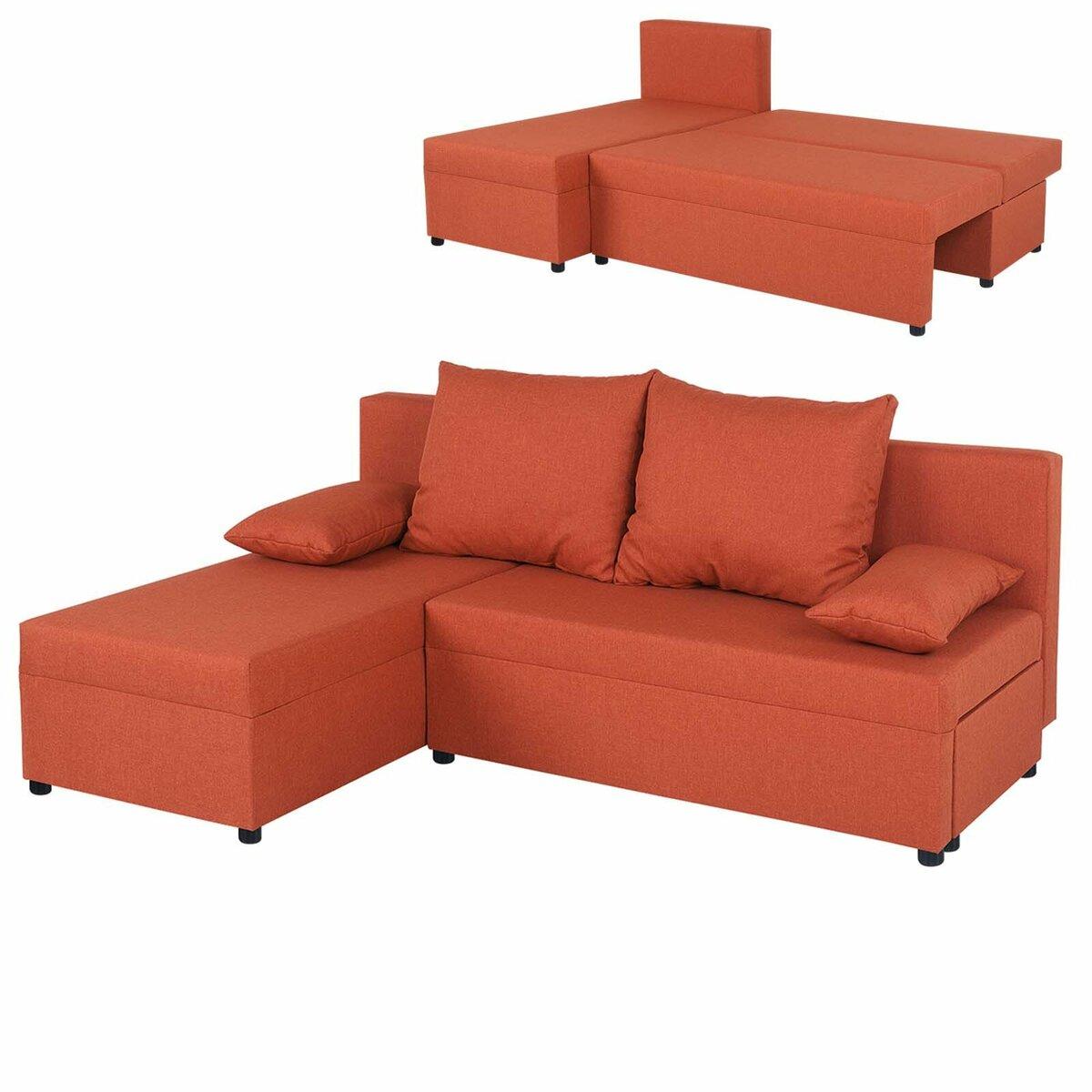 Bild 1 von Ecksofa - orange - Webstoff - mit Liegefunktion