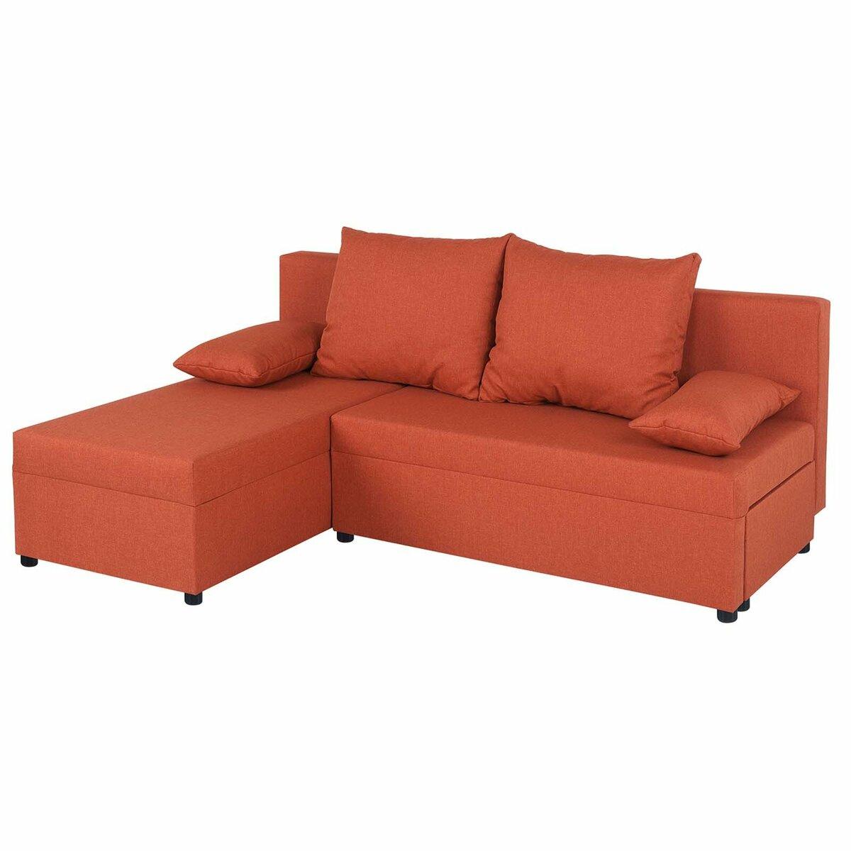 Bild 3 von Ecksofa - orange - Webstoff - mit Liegefunktion