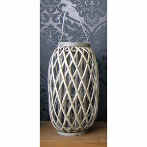 Weidenlaterne mit Glaswindlicht 23x50cm