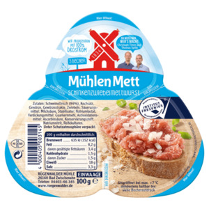 Rügenwalder Mühlen Mett Schinkenzwiebelmettwurst 100g