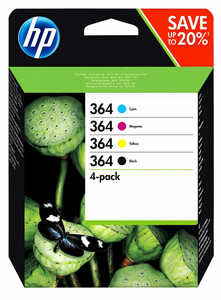 HP 364 Druckerpatronen, Schwarz, Cyan, Magenta, Gelb