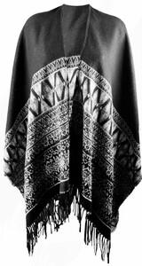 True Style Damen Web-Poncho, schwarz