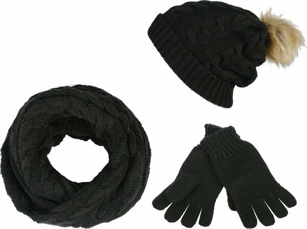 True Style Damen Strick-Set, schwarz