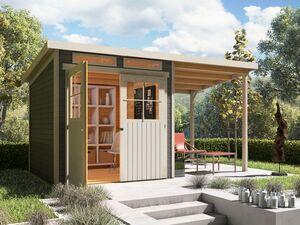 Karibu Locarno 4 SET Pultdach Gartenhaus inkl. seitlichem Anbau
