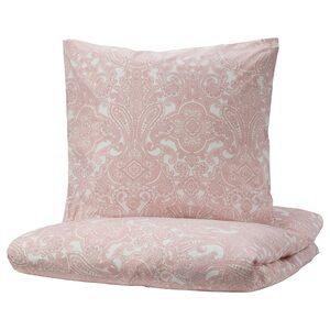 JÄTTEVALLMO                                Bettwäscheset, 3-teilig, weiß, rosa, 240x220/80x80 cm