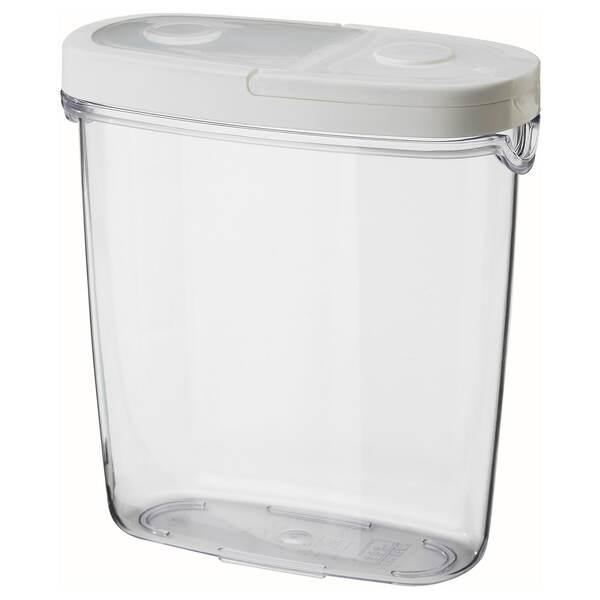 IKEA 365+                                Vorratsbehälter mit Deckel, transparent, weiß, 1.3 l