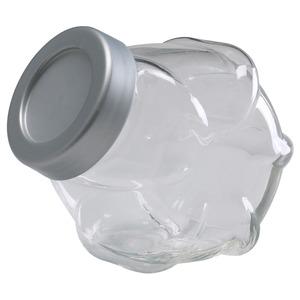 FÖRVAR                                Dose mit Deckel, Glas, aluminiumfarben, 1.8 l