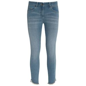 7/8 Damen Slim-Jeans mit fransigem Abschluss