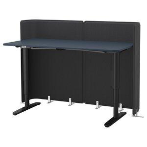 BEKANT                                Empfangstheke sitz/steh, Linoleum blau, schwarz, 160x80 120 cm