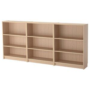 BILLY                                Bücherregal, Eichenfurnier weiß lasiert, 240x28x106 cm