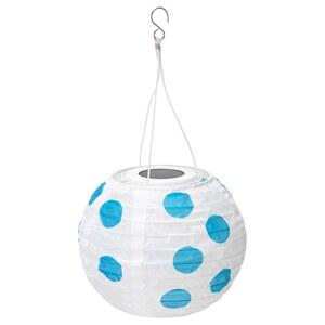SOLVINDEN                                Solarhängeleuchte, LED, für draußen rund, gepunktet blau, 22 cm