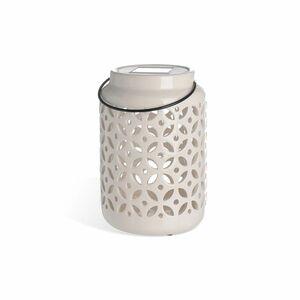 Solarleuchte Keramik, H:19cm, weiß