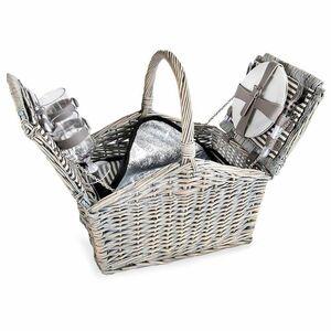 Picknickkorb für 2 Personen mit Kühltasche, 45x41x29cm, grau