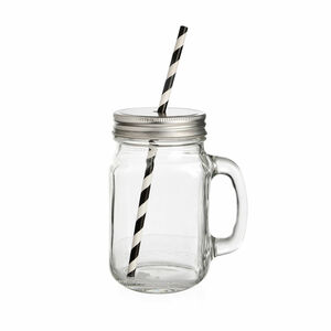Trinkglas mit Deckel und Griff, 450ml, H:13cm, klar