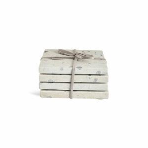 Glasuntersetzer Stone, 4er-Set, weiß