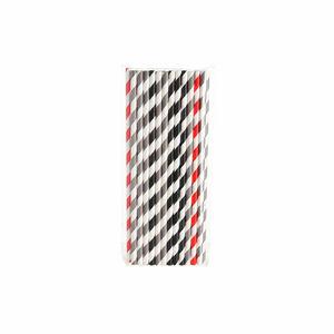 Papierstrohhalm Stripes, L:19cm, schwarz