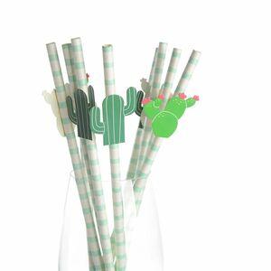 Strohhalm Kaktus, 12 Stück, L:20cm, grün