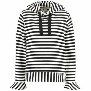 Garcia Damen Pullover mit Kapuze, schwarz/weiß, M
