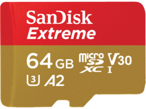 SANDISK Extreme® Micro-SDXC Speicherkarte, 64 GB, 160 MB/s, Class 10, UHS Class 3, Video Speed Class 30 (V30)