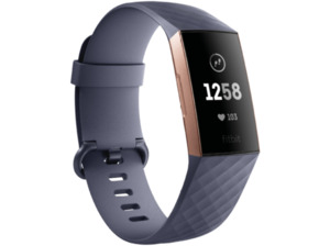 FITBIT  Charge 3, Fitnesstracker, S: 140 mm - 180 mm, L: 180mm - 220 mm, Thermoplastische Elastomere (TPE), Band: Blau Grau / Gehäuse: Rose Gold