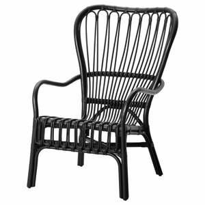 STORSELE                                Sessel mit hoher Rückenlehne, schwarz, Rattan
