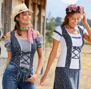 Laura Torelli COLLECTION Damen-Trachtenblusenshirt mit schöner Spitze