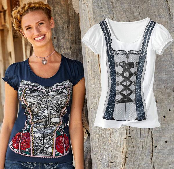 Laura Torelli COLLECTION Damen-Trachten-Shirt mit tollen Rüschen