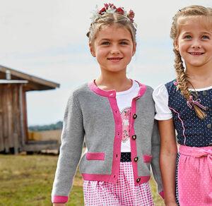 Kids Mädchen-Trachten-Strickjacke mit pinkem Abschluss