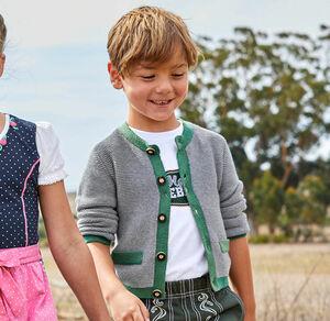 Kids Jungen-Trachten-Strickjacke mit Kontrastband