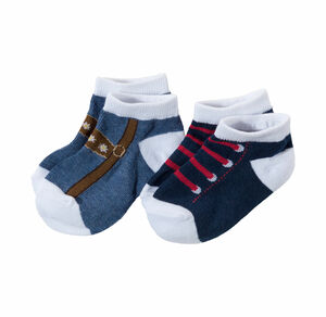 Baby-Jungen-Sneakersocken in Trachten-Optik, 2er Pack