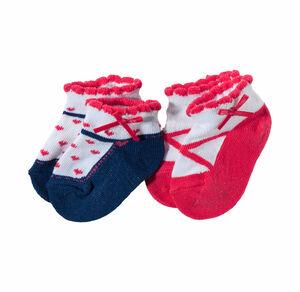Baby-Mädchen-Sneakersocken mit Mäusezähnchenbund, 2er Pack