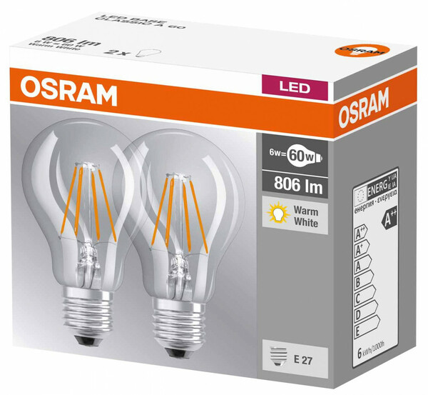 Osram LED-Lampe Base Classic A 60 klar, E27