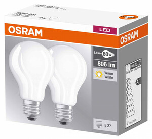 Osram LED-Lampe Base Classic A 60 matt, E27