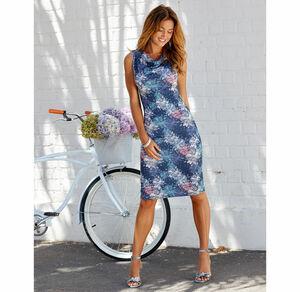 Laura Torelli Classic Damen-Kleid mit Wasserfall-Kragen