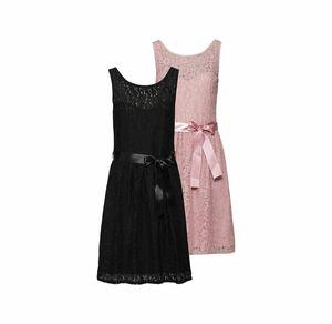 Laura Torelli COLLECTION Damen-Kleid aus wundervoller Spitze, mit Satin-Gürtel