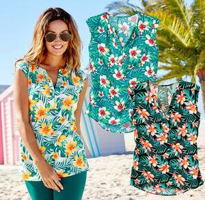Laura Torelli Classic Dame-Bluse mit tropischem Motiv