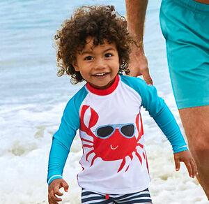 Kinder-Badeshirt mit Krabben-Motiv